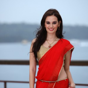 Evelyn Sharma red saree cleavage pics