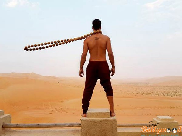 Akshay Kumar with beads for his movie 'Baby'