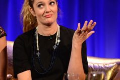 Drew Barrymore got tipsy on a British chat show.