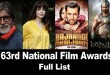 63rd National Film Awards Complete list