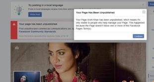 facebook blocks arshi khans official page