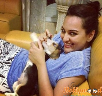 Sonakshi Sinha with her pets