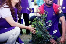 Event Pictures : Juhi Chawla plants saplings with cricketers Yusuf Pathan, Chris Lynn, Ankit Rajpoot!