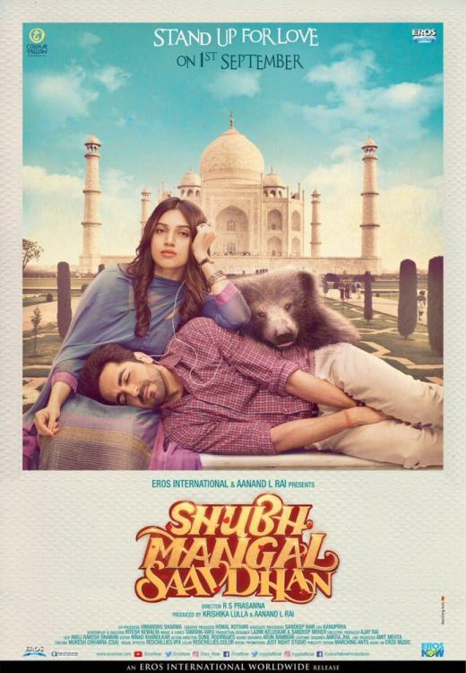 Ayushmann and Bhumi strike lazy poses in front of Taj Mahal in Shubh Mangal Saavdhaan poster