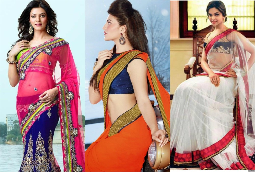 hot look of bollywood actresses in saree