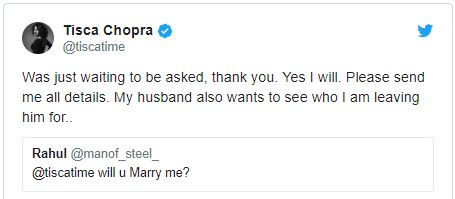 Tisca Chopra Reply To her Fan On Twitter