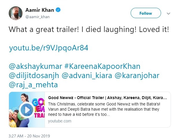 Photo of When Aamir Khan Applauded Good Newwz Trailer?