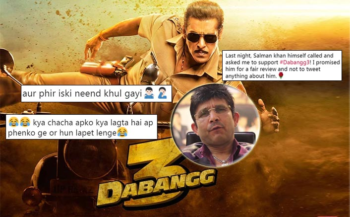 Photo of KRK Claims that Salman Called him to give a good review for Dabangg 3