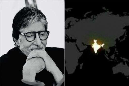 Photo of Big B Trolled for sharing Fake #9pm9minutes Satellite Image