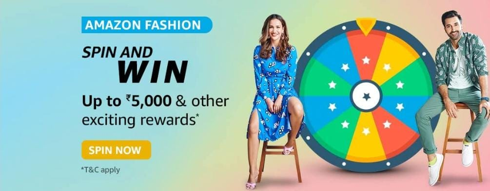 Amazon Fashion Spin and Win Upto 5000 Rs,